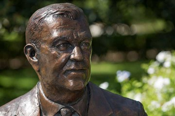 President Strozier honored with statue dedication